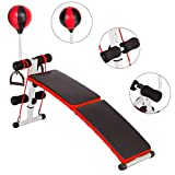 Adjustable Incline Weight Bench Curved Sit Up Bench Board Full Body Gym Weight Benches W/Speed Ball Spring Booster Pull Ropes (Black)
