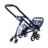 INTSUPERMAI Foldable Folding Portable Stair Climbing Hand Truck Luggage Cart,420LBS Capacity Handcart Luggage Cart with 6 Wheels and 2 Backup Wheels (Black)-with 2 Castes and 4 Hangers