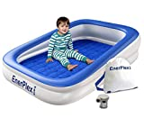 EnerPlex Kids Inflatable Travel Bed with High Speed Pump, Portable Air Mattress for Kids, Blow up Mattress with Sides – Built-in Safety Bumper - Blue