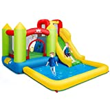Costzon Inflatable Water Slide, Kids Bouncer with Slide, Climbing Wall, Jumping Area, Plash Pool, Including Oxford Carry Bag, Repairing Kit, Stakes, Hose, Bounce House for Toddlers (Without Blower)