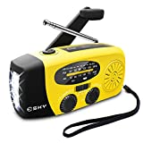 [Upgraded Version]Emergency Radio, Esky 3W LED Flashlight Hand Crank Radio, Self Powered AM/FM NOAA Weather Radio, Portable Solar Radio 1000mAh Power Bank USB Charger for iPhone/Smart Phone (Yellow)