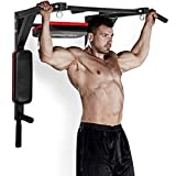 Merax Wall Mounted Pull-Up Bar - Multi-Grip Chin-Up Bar Dip Stand Power Tower Set for Home Gym Strength Training Equipment [Supports 440LBS] (Black & Red)
