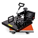 Heat Press Machine 15x15 inch - TUSY 5 in 1 Swing Away Digital Industrial Sublimation Printing Press Heat Transfer Machine for T-Shirt Hat Mug Plate