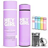Hey Girl Tea Infuser Bottle - Insulated Stainless Steel Tea Thermos & Water Bottle - No-Slip Exterior - Leak-Proof Seal - 6 Colors with Motivational Message - Ideal Gift & Cute Packaging - 15oz Purple