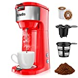Single Serve Coffee Maker For K Cup Coffee Maker With K Cup Capsual&Ground Coffee,Small Size Single Cup Coffee Maker,Kcup Coffee Machines With strength Control Self Cleaning Function Kitchenbro (red)
