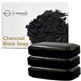 O Naturals 3 Pack Activated Charcoal Black Bar Soap Peppermint Oil Detoxifying Face Body Hand Soap Organic Shea Butter Vegan 100% Natural Soap Helps Acne, Psoriasis, Eczema, for Men & Women 12oz Total