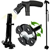 Adjustable Folding Canes and Walking Sticks for Men and Women with Led Lights and Cushion Handle for Arthritis Seniors Disabled and Elderly Best Mobility Aids Cane-250 lbs Weight Capacity