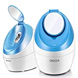 Facial Steamer Nano Ionic Hot Steam For Face Personal Sauna Spa Quality Moisturizing Face Sprayer Open Pores Blackheads Removal Clear Mini Home Humidifier with Makeup Mirror (Red)