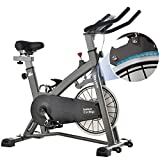 MEVEM Magnetic Exercise Bike, Belt Drive Stationary Indoor Cycling Bike With Super Quiet Resistance for Home Cardio Workout, Stable Heavy Flywheel & Comfortable Seat Cushion with LCD Monitor