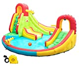 Heavy Inflatable Water Slide Park, Double Slide Climbing Wall Fountain for Outdoors, Equipped with Air Blower