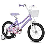 cycmoto Nancy 16' Kids Bike with Basket, Hand Brake & Training Wheels for 4 5 6 Years Girls, Toddler Bicycle Purple