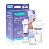 Lansinoh Breastmilk Storage Bags with Pump Adapters for Bags, 50 Count