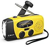 Crank Radio Solar Power, Emergency Hand Crank Radio with Flashlight & 1000mAh Cell Phone Charger, Esky Portable AM/FM NOAA Weather Radio, Household Outdoor Emergency Supplies, Upgraded Version