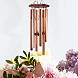 ASTARIN Wind Chimes Outdoor Large,36Inch Sympathy Wind Chime Outdoor Deep Tone with 6 Beautiful Tubes,Perfect Memorial Wind Chime for Mom Women Girls, Rose Golden(A Free Card)