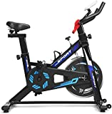 GYMAX Indoor Cycling Bike, Adjustable Exercise Bike with LCD Display, Comfortable Seat Cushion & 5-Position Adjustable Saddle, Professional Exercise Bike for Home Office Gym (Black+Blue)