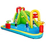 BOUNTECH Inflatable Bounce House, 7-in-1 Water Pool Slide w/ Climbing Wall, Water Cannons, Basketball Rim, Splash Pool, Including Oxford Carry Bag, Repairing Kit, Stakes, Hose (Without Blower)