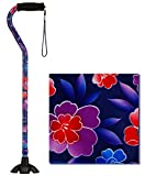 NOVA Medical Sugarcane, Walking Stick with Rubber Quad Tip Base and Carrying Strap, Maui Flowers