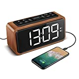 Radio Alarm Clock, Large LED Display Wood Digital FM Alarm Clock, Adjustable Brightness Dimmer and Snooze, Simple LED Clock with Dual Alarm, 12/24 Hour, Powered by AC Adapter (White LED) (Blue LED)