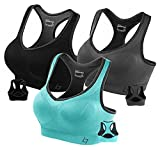 Fittin Womens Padded Sports Bras Wire Free with Removable Pads Grey/black/Blue ,L ,(Pack of 3)