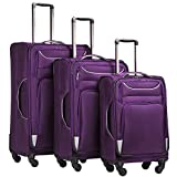 Coolife Luggage 3 Piece Set Suitcase Spinner Softshell lightweight (purple+sliver)