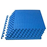 ProsourceFit Extra Thick Puzzle Exercise Mat1/2, EVA Foam Interlocking Tiles for Protective, Cushioned Workout Flooring for Home and Gym Equipment, Blue