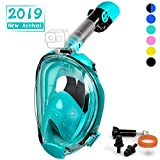 OUSPT Full Face Snorkel Mask, Snorkeling Mask with Detachable Camera Mount, Panoramic 201° View Upgraded Dive Mask with Safety Breathing System, Dry Top Set Anti-Fog Anti-Leak