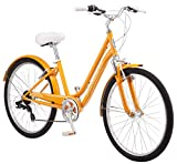Schwinn Suburban Womens Classic Comfort Bike, 26-Inch Wheels, 7-Speed Drivetrain, 16-Inch Steel Frame, Alloy Linear Hand Brakes, Orange