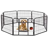 BestPet Pet Playpen 8 Panel Indoor Outdoor Folding Metal Protable Puppy Exercise Pen Dog Fence,24',32',40' (32', Black)