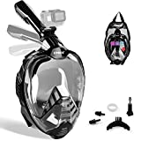 ZIPOUTE Snorkel Mask Full Face, Full Face Snorkel Mask Adult and Kids with Detachable Camera Mount, Snorkeling Mask 180 Panoramic View Anti-Fog Anti-Leak Dry Top Set with Adjustable Straps(Black L/XL)