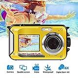 Underwater Camera Waterproof Camera Full HD 1080P for Snorkelling Waterproof Point and Shoot Digital Camera Dual Screen Action Camera