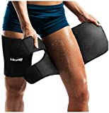 Neoprene Thigh Brace Support Hamstring Compression Sleeve Adjustable Upper Leg Wraps for Women and Men(a pair)