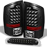 For Dodge 2007-2008 Ram 1500 | 07-09 2500/3500 Truck Black LED Tail Lights + Black LED 3Rd Brake Lamps