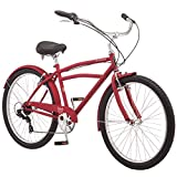 Schwinn Huron Adult Beach Cruiser Bike, Featuring 17-Inch/Medium Steel Step-Over Frames, 7-Speed Drivetrains, Red