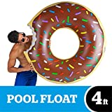 BigMouth Inc Chocolate Donut Pool Float, Funny Inflatable Vinyl Summer Pool or Beach Toy, Patch Kit Included, Giant Swim Tube, Fun Summer Toy