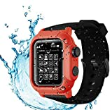 Compatible Apple Watch Series 3 & Series 2 42mm Waterproof Case ,Tomcrazy IP68 Full Sealed Shockproof Watch Case Cover + Soft Watchstrap for iwatch 3 /2(Black Red)