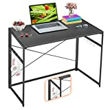 "Mr IRONSTONE 31.5"" Folding Computer Desk Carbon Fiber Tabletop, Small Writing Desk Easy Assembly with 10 Hooks, Foldable Metal Frame, Writing Workstation Laptop Table for Home Office (Textured Black)"