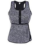 ANGOOL Women Sauna Sweat Vest Neoprene Waist Trainer Workout Slimming Vest for Weight Loss with Adjustable Waist Trimmer Belt Grey