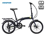 KESPOR Venture Folding Bike Commuter, Rear Rack, Folding 16 Speed Bike City Aluminum, Disc Brake, 20-Inch Wheels (Navy)