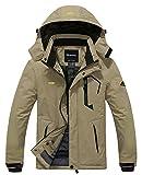 Wantdo Men's Waterproof Mountain Jacket Winter Windproof Ski Coat Parka Khaki S