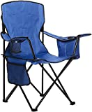 Amazon Basics Padded Folding Outdoor Camping Chair with Bag - 34 x 20 x 36 Inches, Blue