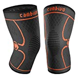 CAMBIVO 2 Pack Knee Brace, Knee Compression Sleeve Support for Men and Women, Running, Hiking, Arthritis, ACL, Meniscus Tear, Sports, Home Gym(Orange,Large)