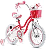 Royalbaby Girls Bike Stargirl 14 Inch Girl's Bicycle With Training Wheels Basket Child's Girl's Bike Pink