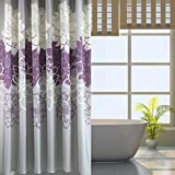 Sfoothome Small Size 36 by72 Inch Gray Background and Purple Flowers Pattern,Waterproof Washable Printed Polyester Fabric Shower Curtain for Bathroom (Purple 36Inch72Inch)