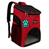PetAmi Premium Pet Carrier Backpack for Small Cats and Dogs | Ventilated Design, Safety Strap, Buckle Support | Designed for Travel, Hiking & Outdoor Use (Red)