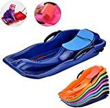 Snow Sled Kids Toboggan with Brakes & Anti-Slip Foot Panels - Baby Pull Sled Sand Grass Skiing Snowboard Boat Sleigh for Kids(Blue)