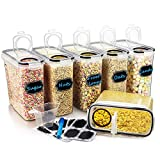 Large Cereal & Dry Food Storage Containers, Wildone Airtight Cereal Storage Containers for Sugar, Flour, Snack, Baking Supplies, Leak-proof with Black Locking Lids - Set of 6 (4L /135.3oz)