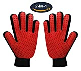 Pet Grooming Glove,Gentle Deshedding Brush Glove Hair Remover Brush for Dogs,Cats with Long & Short Fur,Enhanced Five Finger Design -One Pair Left & Right[Red]