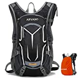 Arvano Mountain Bike Backpack Cycling Backpack - 16L Biking Daypack Ski Rucksack Breathable Waterproof with Rain Cover, Hydration Pack for Running Riding Skiing Men Women (Black-only Backpack)