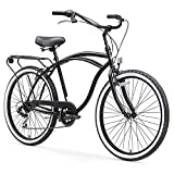 sixthreezero Around The Block Men's 7-Speed Beach Cruiser Bicycle, 26' Wheels, Matte Black with Black Seat and Grips
