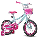 JOYSTAR 12 Inch Kids Bike with Training Wheels for 2 3 4 5 Years Old Girls, Starter Bike for Toddler, Birthday Gift, Blue Pink